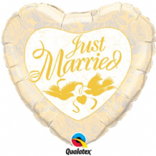 Just Married Heart Ivory & Gold Foil Helium Balloon